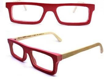 20% off SUMMER SALE customize TAKEMOTO Take handmade  square  red bamboo  prescription eyeglasses  Mjx1201 C0501