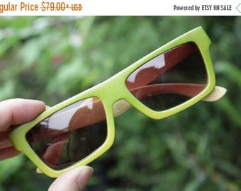 20% off SUMMER SALE Apple agreen 100 Percent  handmade bamboo qusare prescription TAKEMOTO sunglasses