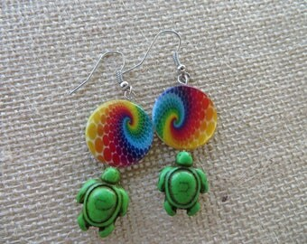 Bright Painted Shell And Green Howlite Turtle Earrings