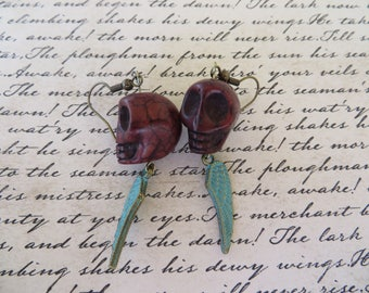 Brown Howlite Skulls With Patina Metal Wing Charms Earrings