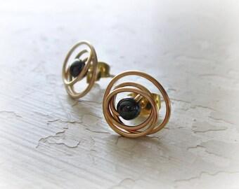 Gold Stud Earrings, Hematite Studs, Black Stud Earrings, Wire Wrap Earrings, Small Stud Earrings, Gold Post Earrings, Hematite Earrings