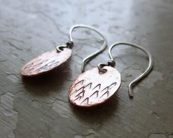 Mountain Earrings, Copper Earrings, Sterling Copper, Stamped Earrings, Mountain Jewelry, Nature Lover, Outdoor Jewelry, Hiker Gift