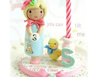 Finger Puppet, Candle Cake Topper, Birthday Candle, First Birthday Girl, Girl Party, Gift, Second Birthday, Third Birthday, 4th Birthday