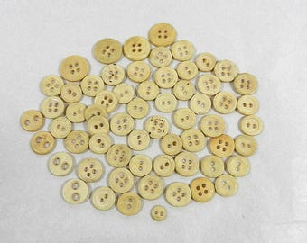 60 Bone Buttons, 2 and 4 Hole Sew Through, for Reenactment or Collecting