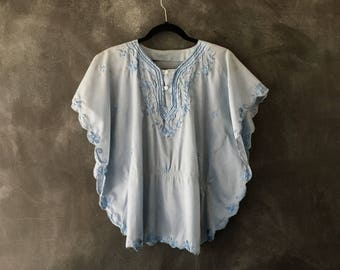 70s Baby Blue Flutter Sheer Blouse Top Poncho Butterfly Boho Hippie Bohemian Top Ladies S/M