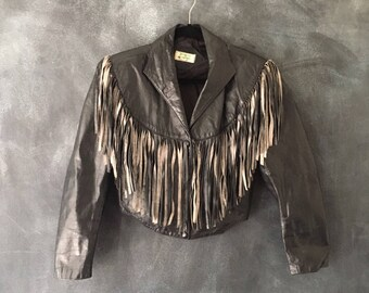 80s Fringed Black Leather Jacket Cropped Moto Oversized Hippie Boho Jacket Ladies S