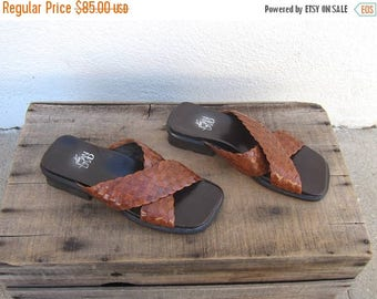 SALE 90s Joan and David Sandals Slides Brown Braided Leather NWT Chunky Heel Sandals Ladies Size 35/6