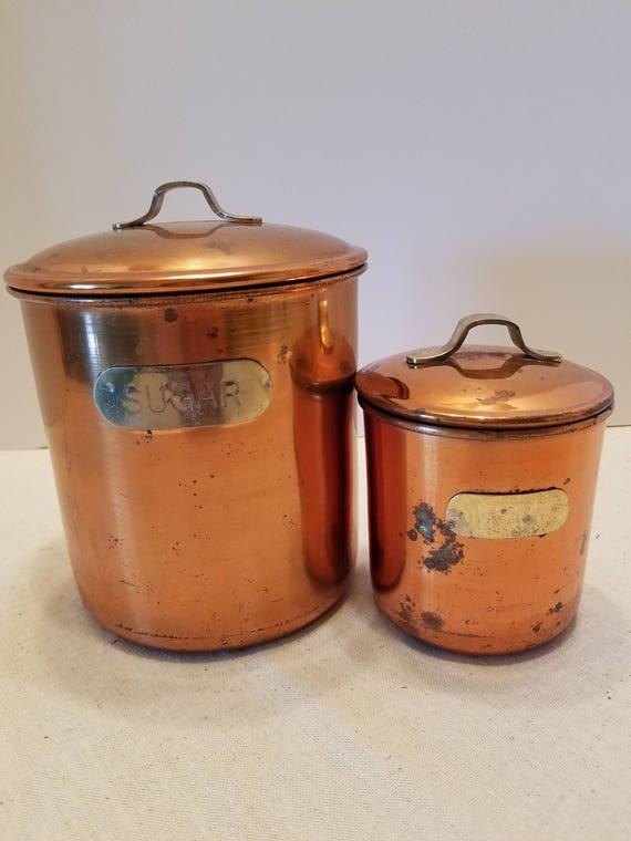 Copper Canisters - Set of 2 - Sugar and Tea Canisters - Mid-Century Canisters