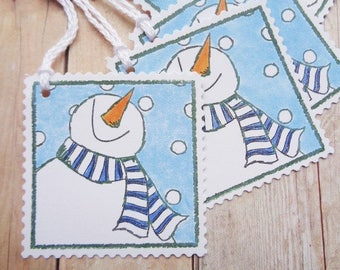 Snowman Christmas Gift Tags Snowmen Postage Stamp Style Tag