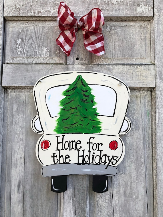 Christmas door hanger, red truck door hanger, new door hanger, vintage truck and tree door hanger, truck with Christmas tree sign