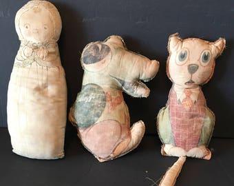Vintage Plush Stuffed Toys 1960's crocodile Doll Cat