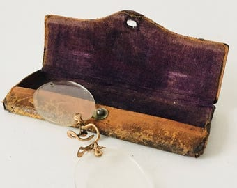 Vintage Nose Fit Wire Rim Glasses With Case