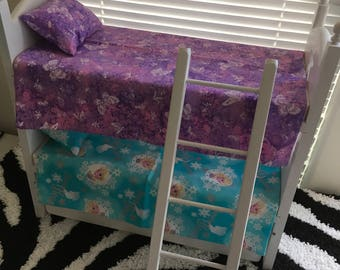 "Ready To Ship! Trundle Bunk Bed Set with Ladder for American Girl, 18"" Inch Dolls Bed"