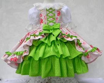 Girls Little Bo Peep Gown/Costume, Customize for Your Wedding, Lace Top, Corset, Ruffle Hoop Skirt, Bonnet, Pantalette, size 12 mo. thru 10