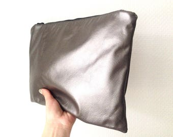 Silver Genuine Soft Leather Clutch