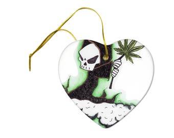 the grim weed reaper marijuana pot leaf joint art print on a heart ceramic hanging ornament