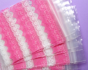 8 clear pocket with zip, pink white lace food plastic bag gift wrap, candy sweets, cookies
