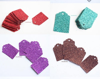 10 Glitter Gift Tags, Party favors tags, New Eve - 8 colors : Brown, Blue, Black, Red, Gold, Green, Silver, Purple - 3x4.5 cm