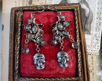 Antique Georgian Victorian Memento Mori Skull Earrings, Talismans for the Passionate, by RusticGypsyCreations