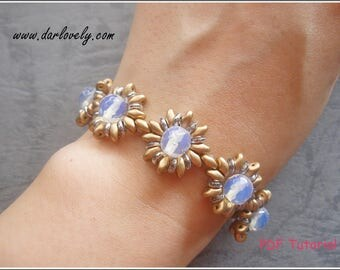 Beaded Bracelet Pattern - Golden Shimmering Superduo Bracelet (BB195) - Beading Jewelry PDF Tutorial (Digital Download)