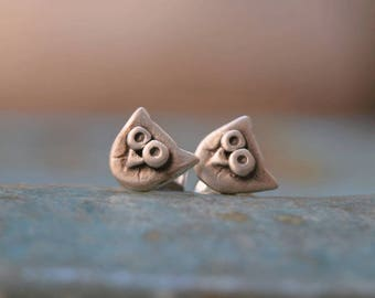 Really tiny owl studs in sterling silver - graduation gift -men - girl studs