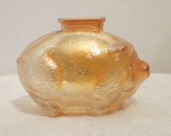 Marigold Carnival Glass Piggy Bank