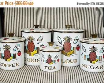 Yearly Big Sale: Vintage Georges Briard Signed 5 Piece Enamelware Canister Set Pineapple Ambrosia, MCM Mid Century Modern