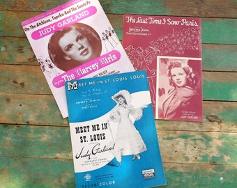 Vintage sheet music-Judy Garland-St. Louis-Broadway-Musicals-Harvey Girls-Movies-Movie songs- railroad-Last Time I Saw Paris-Silver Screen