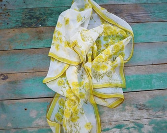 Vintage VERA-Vera Neumann-Floral scarf-yellow flowers-daisy-Vera sheer-rectangle scarf-oblong-neck scarf-50s-small signature-border scarf