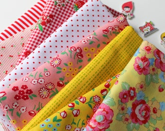 Red and yellow Janum curated bundle- 8 fat quarters