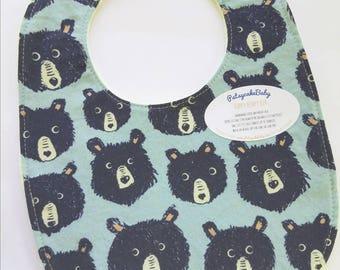 Happy Hempy, organic cotton and hemp fleece backed baby bib, super absorbent, bear faces, blue