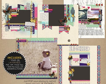 Aztec Summer (Layered Quickpages) - Digital Scrapbooking PRE MADE Pages for Beach, Pool, Summer