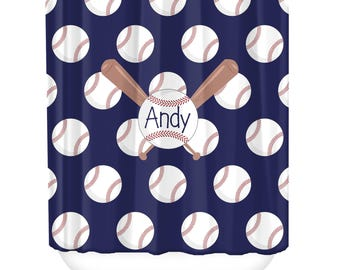 Baseball Personalized Shower Curtain, Monogrammed Shower Curtain, Bathroom Decor, Personalized Shower Curtains, Custom Shower Curtains