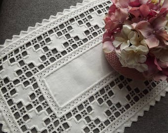 Hardanger Doily Centerpiece - White on White with Cut Out Detail - Large and Long