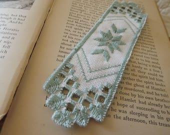 Hardanger Light Green and White Bookmark