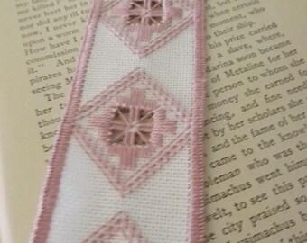 Hardanger Rose Pink and White Bookmark