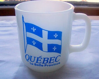 Quebec Souvenir Mug by Glasbake, Vintage 1950s Coffee Cup, Milk Glass Coffee/Tea Cup Stackable, D Handle
