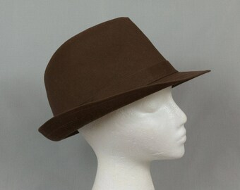 Brown Fedora Large Extra large Chocolate brown hat Wool gaberdine hat Men or women Pristine condition Hipster style