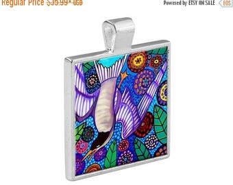 55% Off Today- Bird Folk Art Jewelry - Pendant Metal  Gift Art Heather Galler Gift - Birdwatching Lovers Pet Art Vegan Gifts