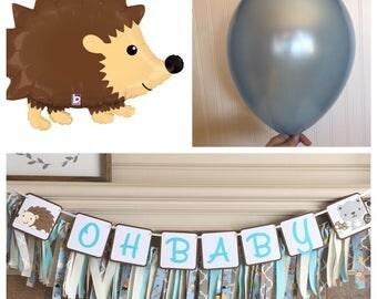 Woodland Creatures Balloon Bouquet - Balloon Kit - Baby Shower or Birthday Party - Hedgehog Balloon Bouquet - Hedgehog Birthday Decorations