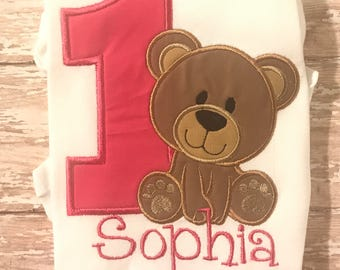 First birthday Bear Shirt or Bodysuit-First Birthday shirt-Bear Birthday Shirt-Bear birthday Bib-Bear Birthday Bloomers