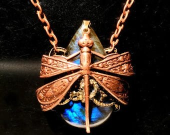 Large Labradorite, Steampunk Dragonfly Necklace, Dark Metal Noir, Antiqued Copper