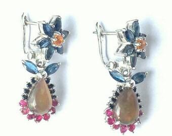 Black Opal Earrings,Sterling Silver, Red Ruby, Orange, Blue Sapphire, Drop Earrings,Sterling Silver Lever Backs, Flower Design
