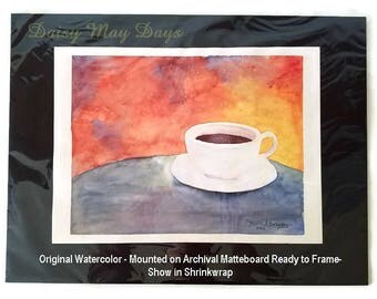 Coffee and Sunshine, Original Watercolor Painting, Fine Art, Kitchen Decor, Wall, Artwork, Fine Art, Red, Blue, Yellow, White