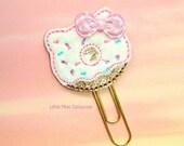 Pastel Kitty Donut Glitter Planner Clip Paperclip pink white aqua lavender