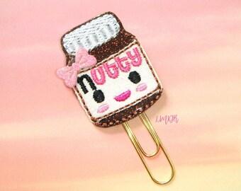 Chocolate Nutty Spread Cutie Glitter Paperclip Planner Clip