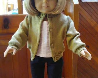 LIME CELERY GREEN Cardigan Sweater 18 inch doll clothes