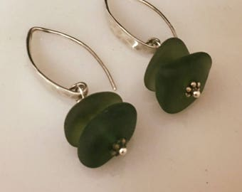 Sterling Silver Earrings hammered finish Sea Glass
