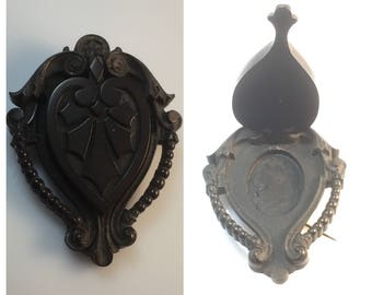 Unusual large Vulcanite antique victorian mourning locket brooch or pin with hidden compartment