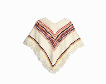 Vintage 70s Fringed Southwestern Poncho Top in Rust & Cream / Boho Poncho Cape - women's small